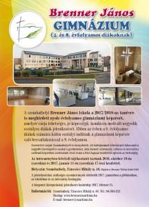 Gimnáziumi felvétel 2017-18